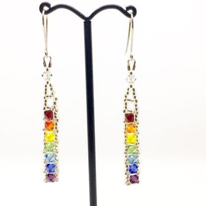 Rainbow Swarovski earrings, bright rainbow dangly earrings, Boho earrings
