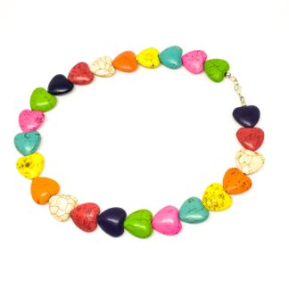 Howlite rainbow necklace, Boho style, chunky necklace