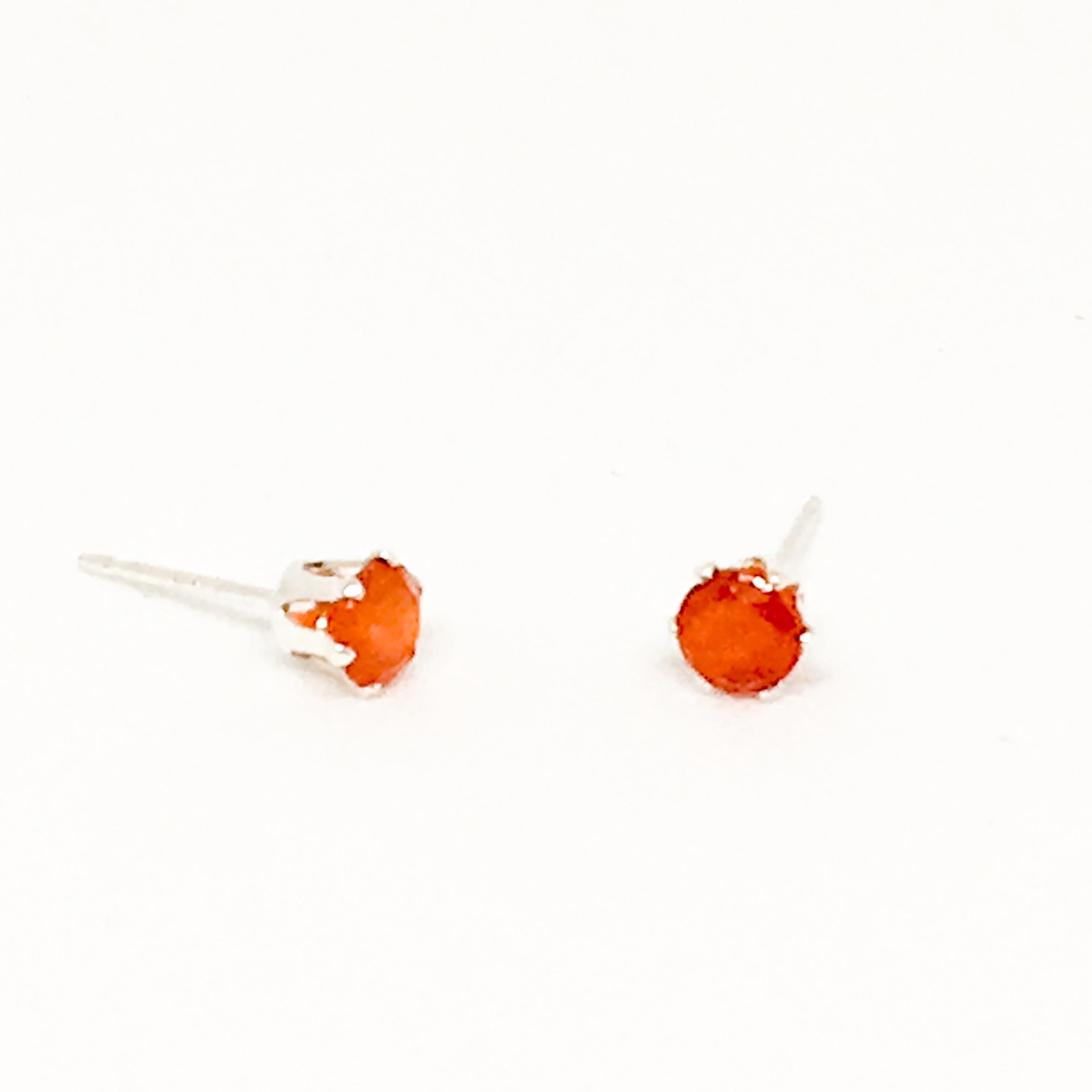 4mm Carnelian gemstone stud earrings, sterling silver studs