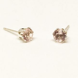 4mm Rose Quartz gemstone studs, sterling silver stud earrings