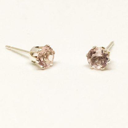 4mm Rose Quartz gemstone studs, sterling silver stud earrings