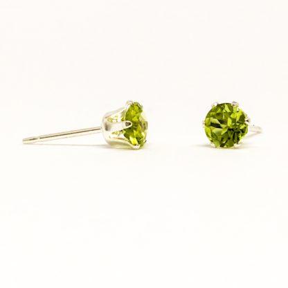 Peridot 4mm gemstone studs, green stud earrings, August birthstone, sterling silver