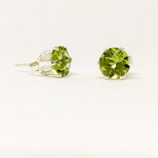 Peridot 6mm gemstone studs, green stud earrings, August birthstone, sterling silver