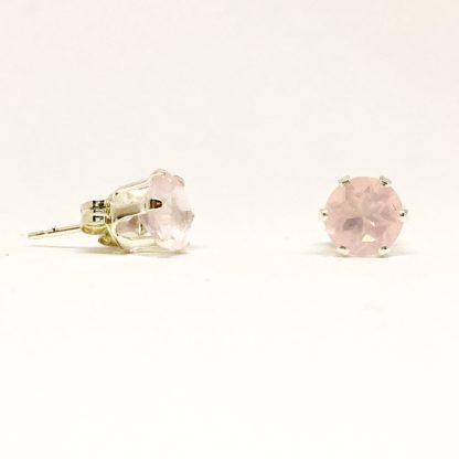 6mm Rose Quartz gemstone stud earrings, sterling silver gemstone studs