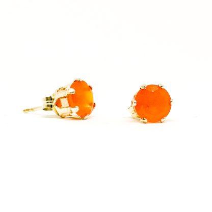 6mm Carnelian gemstone stud earrings, sterling silver gemstone studs