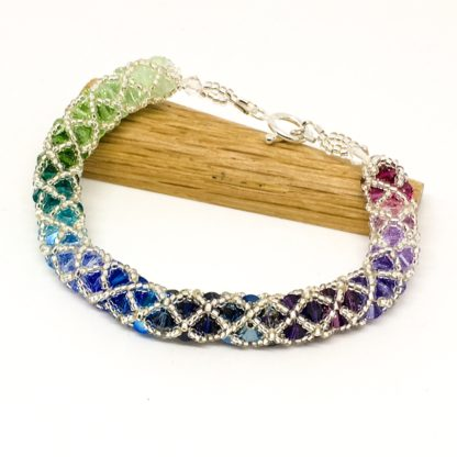 Mermaid Swarovski® bracelet, sterling silver clasp, statement bracelet