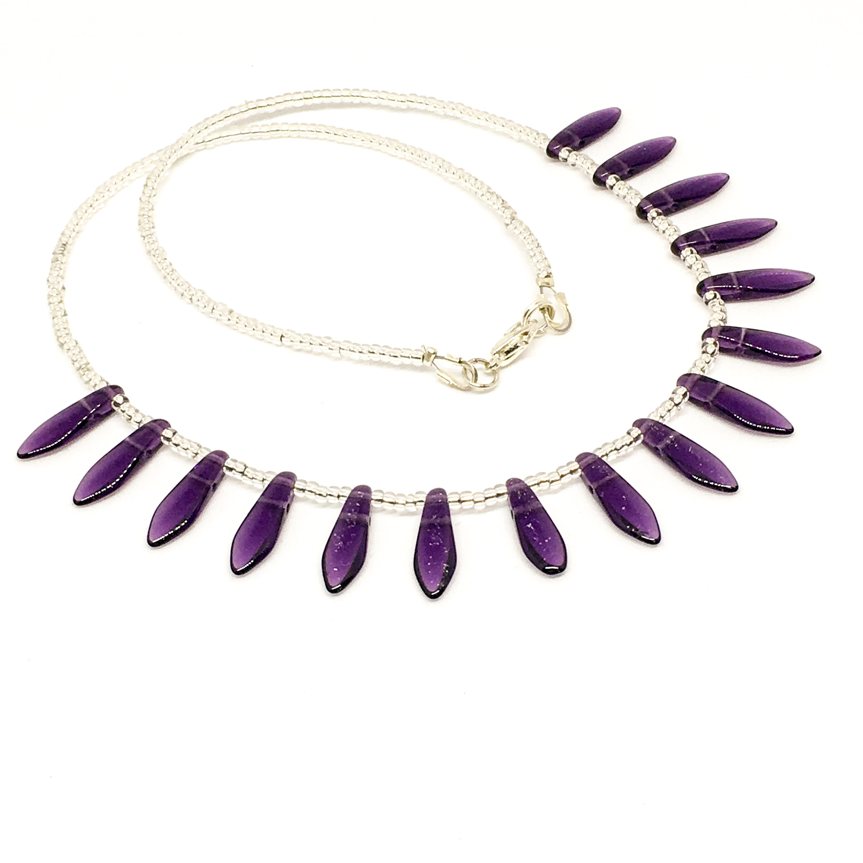 Czech crystal dagger necklace, Amethyst