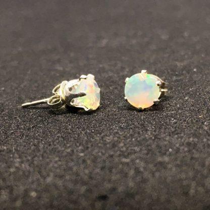 Opal stud gemstone earrings, 5mm Ethiopian opals, sterling silver setting