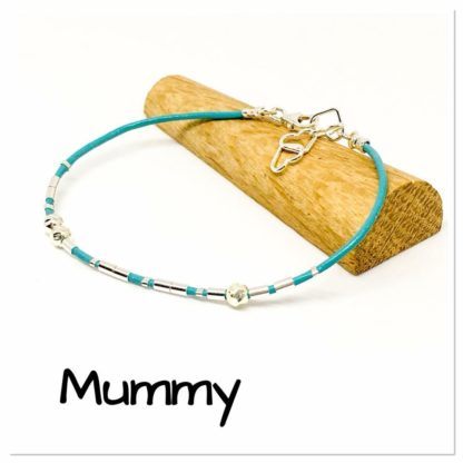 Mummy Morse code bracelet, leather and sterling silver, hidden message bracelet
