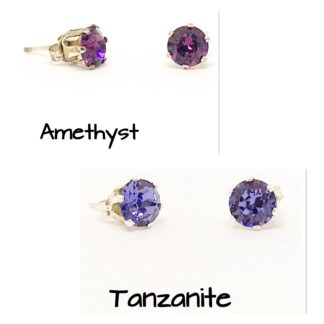 Swarovski stud earrings, 6mm stones, sterling silver studs, Purples
