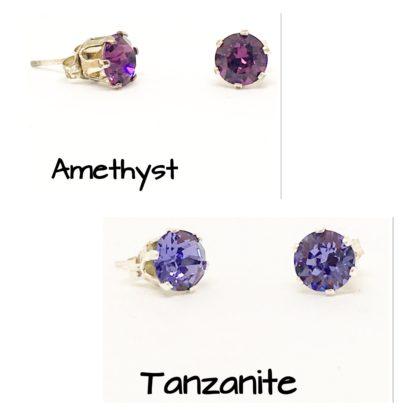 Swarovski stud earrings, 6mm stones, sterling silver studs, Purples