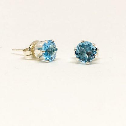 Blue Topaz gemstone studs, 5mm stones, sterling silver, November birthstone