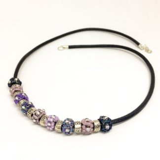 Leather cube necklace, purple woven cubes, silver plated, Boho necklace