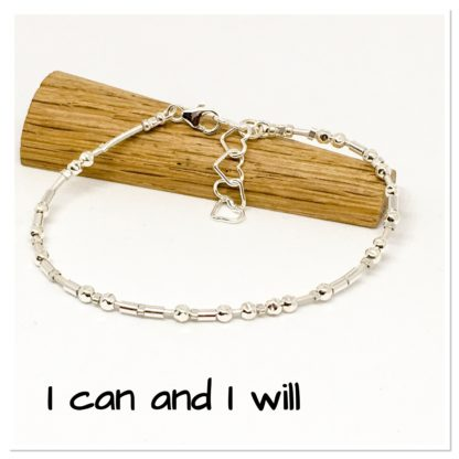 I can and I will Morse code bracelet, hidden message bracelet, sterling silver and leather