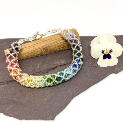 Rainbow spiral weave bracelet, Swarovski®and sterling silver