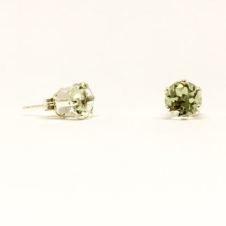 4mm Green Amethyst gemstone studs, sterling silver stud earrings