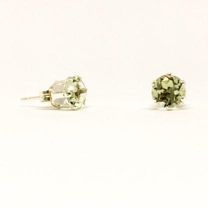 4mm Green Amethyst gemstone studs, sterling silver stud earrings