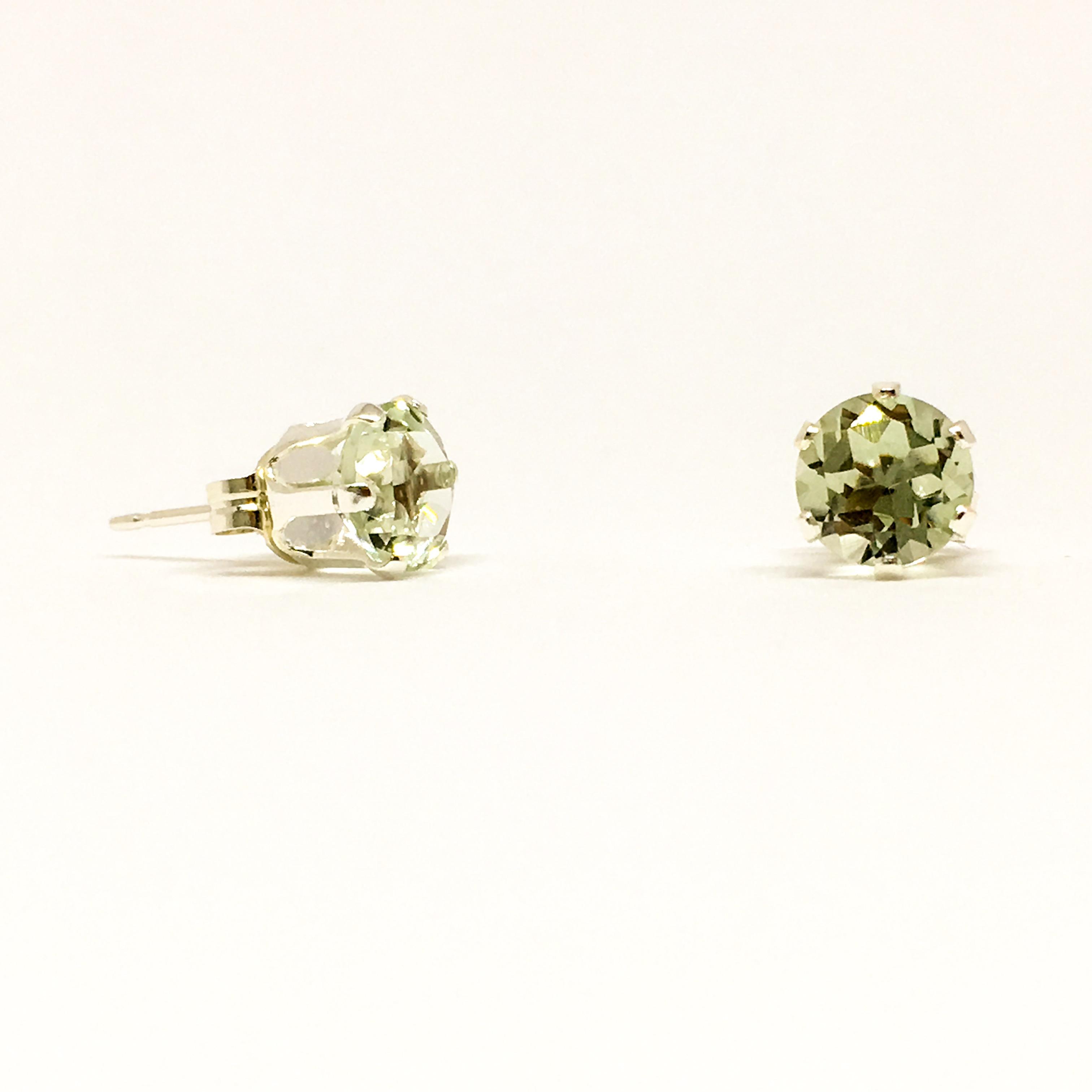 4mm Green Amethyst Gemstone Studs Sterling Silver Stud Earrings