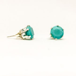 Turquoise gemstone stud earrings, 6mm sterling silver settings, Sleeping Beauty Turquoise