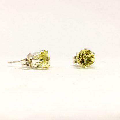 Lemon Quartz 5mm studs, gemstone stud earrings, sterling silver