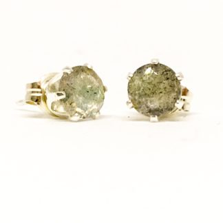 Labradorite gemstone stud earrings, 5mm stones, sterling silver studs