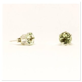 Green Amethyst gemstone studs, 6mm stud earrings, sterling silver