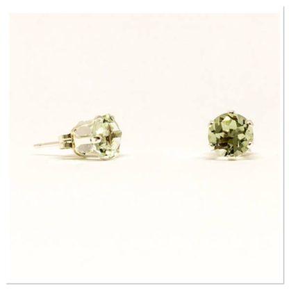 Green Amethyst gemstone studs, 6mm stud earrings, sterling silver