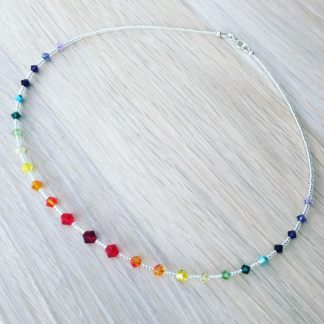 Rainbow Swarovski necklace, bright, Boho beads, delicate necklace