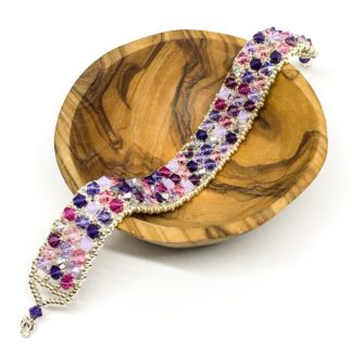 Purple Swarovski beaded bracelet, Swarovski encrusted, sterling silver clasp, purple and pink bead mix