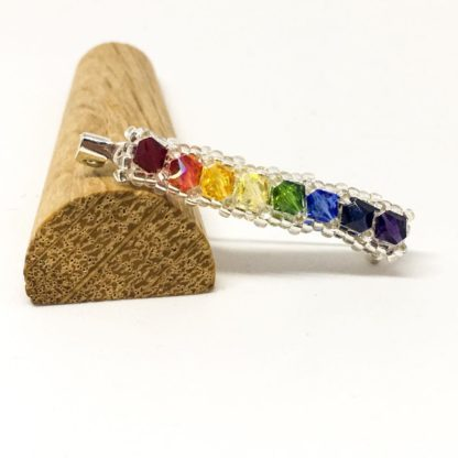 Rainbow Swarovksi brooch, colourful pin, Boho badge, LGBT,