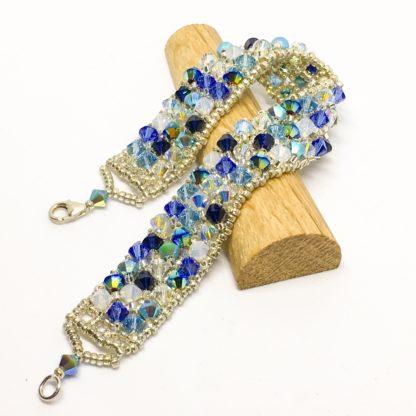 Blue tones woven Swarovski bracelet, sterling silver clasp, statement bracelet