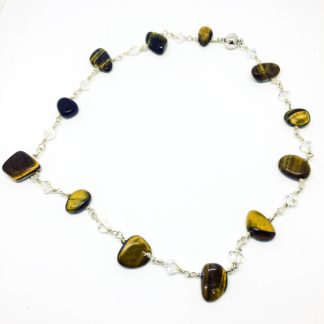 Tiger's Eye Swarovski necklace, gemstone necklace, sterling silver