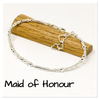 Maid of Honour Morse Code bracelet, sterling silver and leather, Wedding ideas, Wedding jewellery, wedding favours