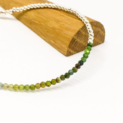 Green tourmaline gemstone bracelet, tiny 2mm beaded bracelet, sterling silver and gemstones, dainty bracelet, summer jewellery