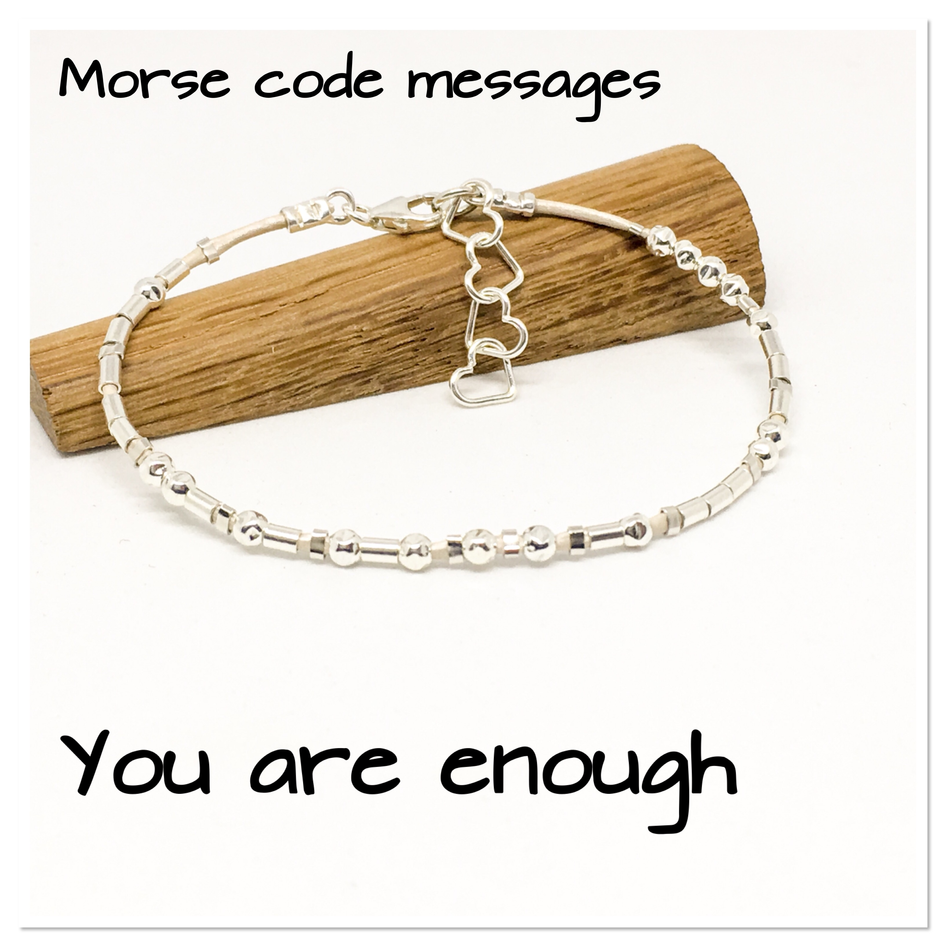 5ec74fe548522 You are enough Morse code bracelet, hidden message bracelet, sterling  silver and leather