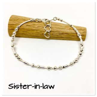 Sister in law gift, morse code bracelet, leather and sterling silver, hidden message