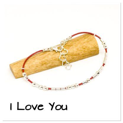 I Love You Morse code bracelet, leather and sterling silver, hidden message bracelet, Valentine's gift
