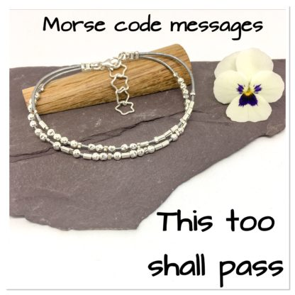 This too shall pass, Morse code message bracelet, sterling silver and leather, hidden message bracelet, motivational message