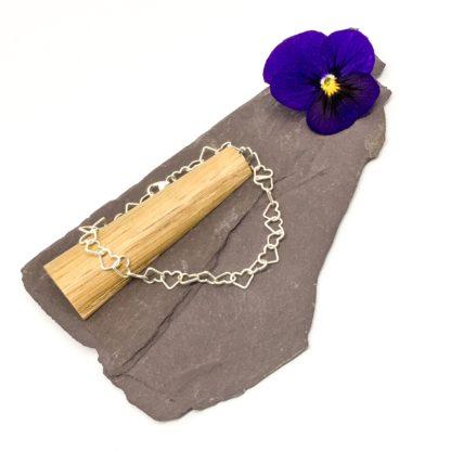 Heart wire bracelet, delicate heart chain, sterling silver bracelet, simple bracelet, ankle bracelet