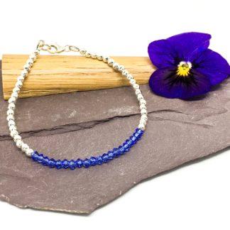 Sapphire bracelet, Swarovski ® crystal elements, sterling silver, September birthstone bracelet