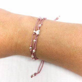 Dusky pink silk slider bracelet, sterling silver beads